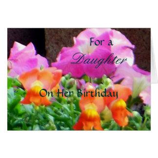Carte Pour une fille sur ses flores colorées