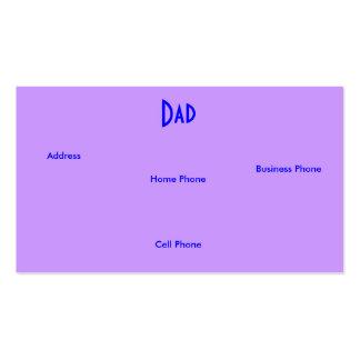 Carte pourpre bleue de profil des roses I de papa Cartes De Visite Professionnelles