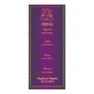 Carte pourpre de menu de mariage indien élégant de carton d'invitation  10,16 cm x 23,49 cm