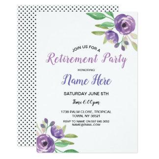 Carte Pourpre d'invitation de fleur de retraite de fête