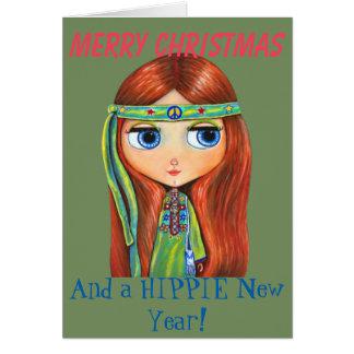 Carte Poussin hippie mignon dans Noël vert de signe de