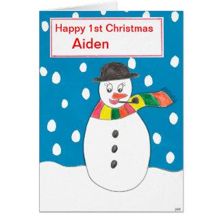 Carte Premier Noël heureux Aiden