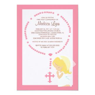 Carte Premier rose de fille d'invitation de communion de