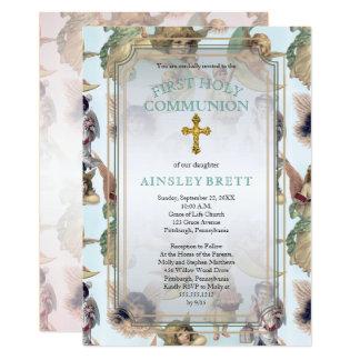 Carte Première sainte communion d'anges de garçon