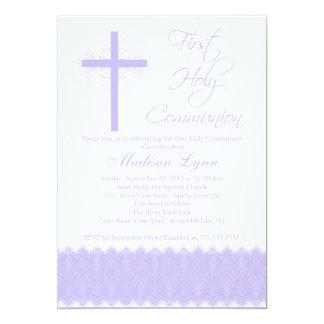 Carte Première sainte communion de croix pourpre