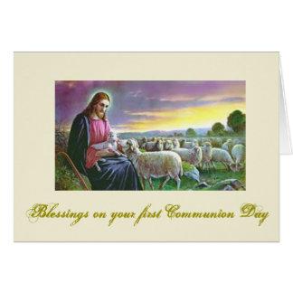 Carte Première sainte communion - pour des félicitations