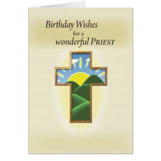 Carte Prêtre croisé d'anniversaire