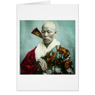 Carte Prêtre vintage de Shinto de Japonais priant le