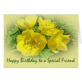 Carte Primevères de jaune d'anniversaire d'ami -