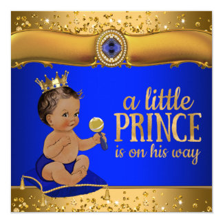 Carte Prince ethnique baby shower d'or de prince bleu