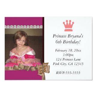 Carte Princesse avec l'invitation de couronne et de