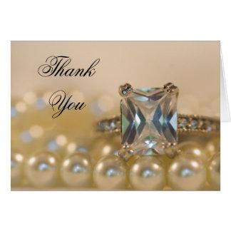 Carte Princesse bague à diamant et Merci de perles