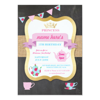 Carte Princesse Crown Alice Birthday d'invitation de thé