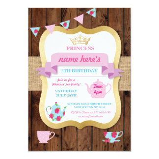 Carte Princesse Crown Pot Alice Birthday d'invitation de