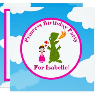Carte Princesse et fête d'anniversaire de conte de fées
