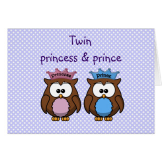 Carte princesse et prince jumeaux de hibou