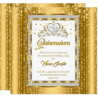 Carte Princesse majestueuse Quinceanera Gold White