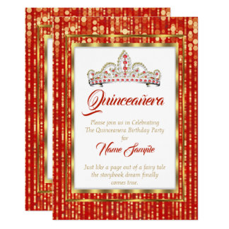 Carte Princesse majestueuse Red Quinceanera Gold White