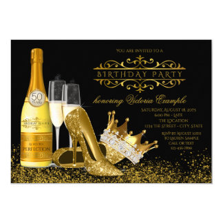 Carte Princesse noire Birthday de talons hauts de l'or