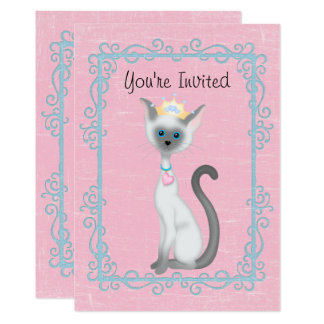 Carte Princesse personnalisée Cat Pink Birthday