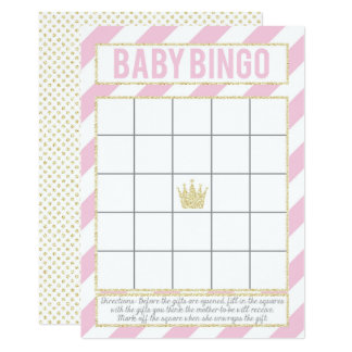 Carte Princesse rose Baby Bingo de parties scintillantes