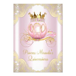Carte Princesse rose Quinceanera d'or de Cendrillon