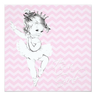 Carte Princesse rose vintage baby shower de ballerine