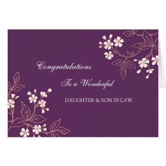 Carte Prune de félicitations de mariage de fille et de