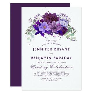 Carte Prune et mariage élégant pourpre floral violet