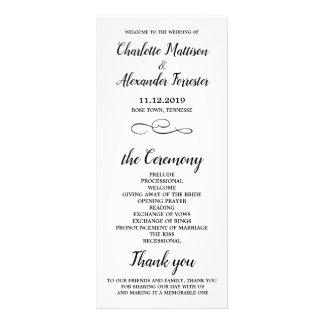 Carte Publicitaire Cérémonie de mariage noire et blanche minimale
