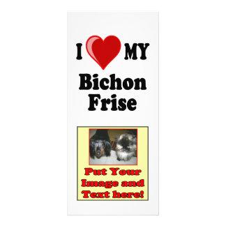 Carte Publicitaire J'aime (coeur) mon chien de Bichon Frise