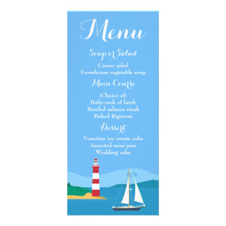 Carte Publicitaire Mariage bleu nautique de voilier et de phare de