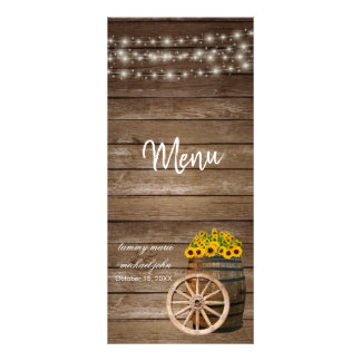 Carte Publicitaire Mariage en bois rustique de baril et de tournesol