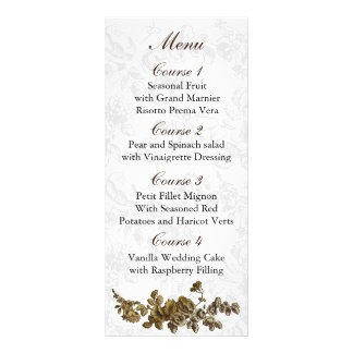 Carte Publicitaire Mariage floral vintage de Brown d'or chic