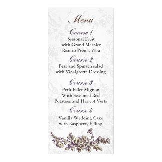 Carte Publicitaire Mariage floral vintage en ivoire et pourpre