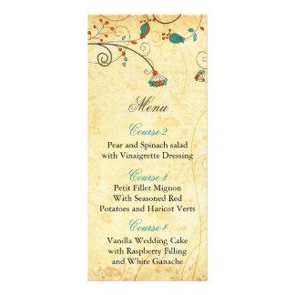 Carte Publicitaire Mariage floral vintage rustique turquoise