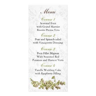 Carte Publicitaire Mariage floral vintage vert en ivoire chic