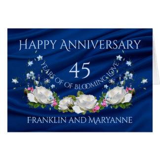 Carte Quarante-cinquième saphir heureux de roses blancs