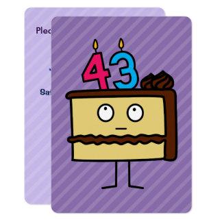 Carte quarante-troisième Gâteau d'anniversaire avec des