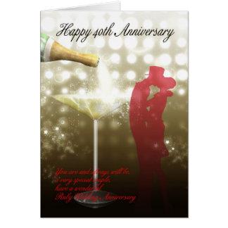 Carte quarantième anniversaire - Champagne