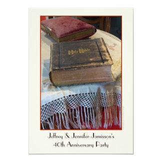 Carte quarantième Bible de cru d'invitation de fête