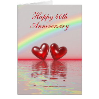 Carte quarantième Coeurs rouges d'anniversaire (grands)