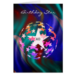 Carte quarantième Étoile d'anniversaire (ajoutez la