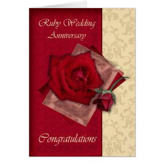 Carte quarantième Félicitations rouges d'anniversaire de