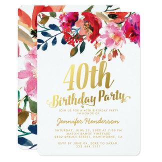 Carte Quarantième fête d'anniversaire florale élégante