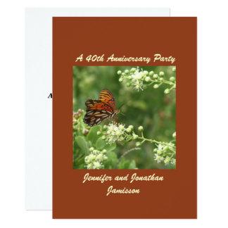 Carte quarantième Papillon de fête d'anniversaire