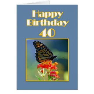Carte Quarantième papillon de monarque heureux