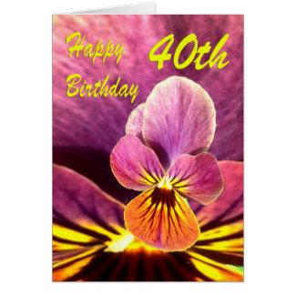 Carte Quarantième pensée heureuse de fleur