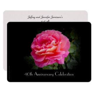 Carte quarantième Rose de rose d'invitation de