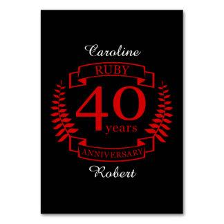 Carte quarantième RUBIS d'ANNIVERSAIRE de mariage